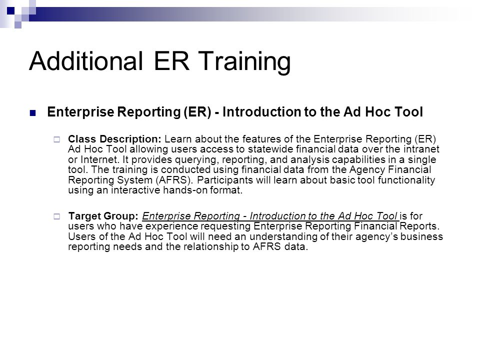 Additional ER Training
