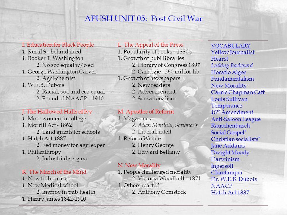 APUSH UNIT 05: Post Civil War
