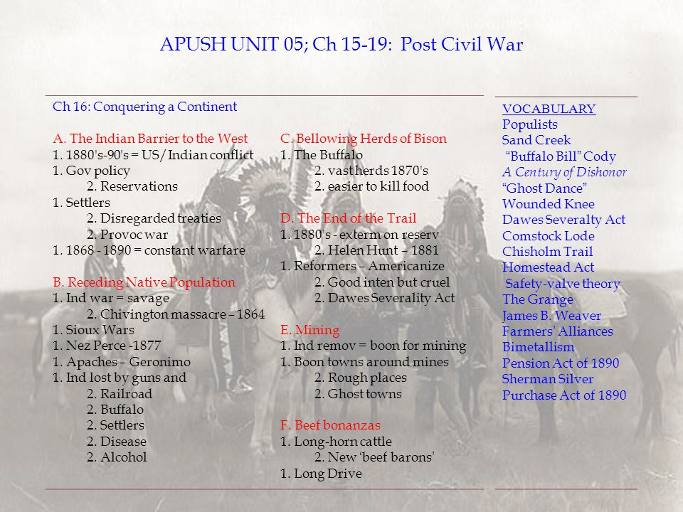 APUSH UNIT 05; Ch 15-19: Post Civil War