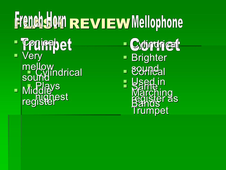 FLASH REVIEW French Horn Mellophone Trumpet Cornet Conical Cylindrical