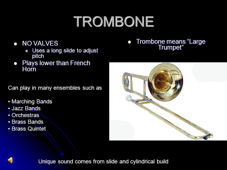 Trombone means Large Trumpet