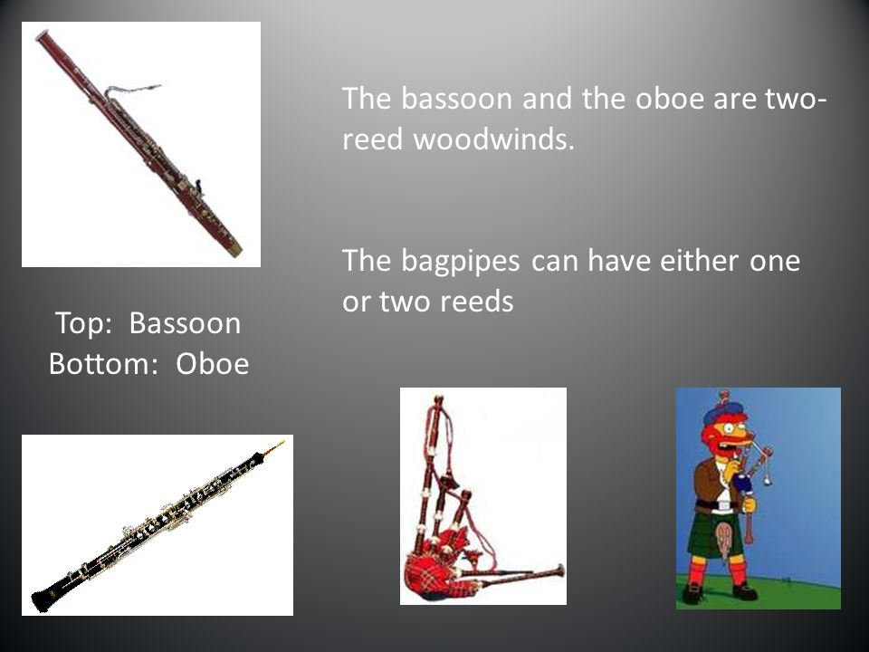 The bassoon and the oboe are two-reed woodwinds.