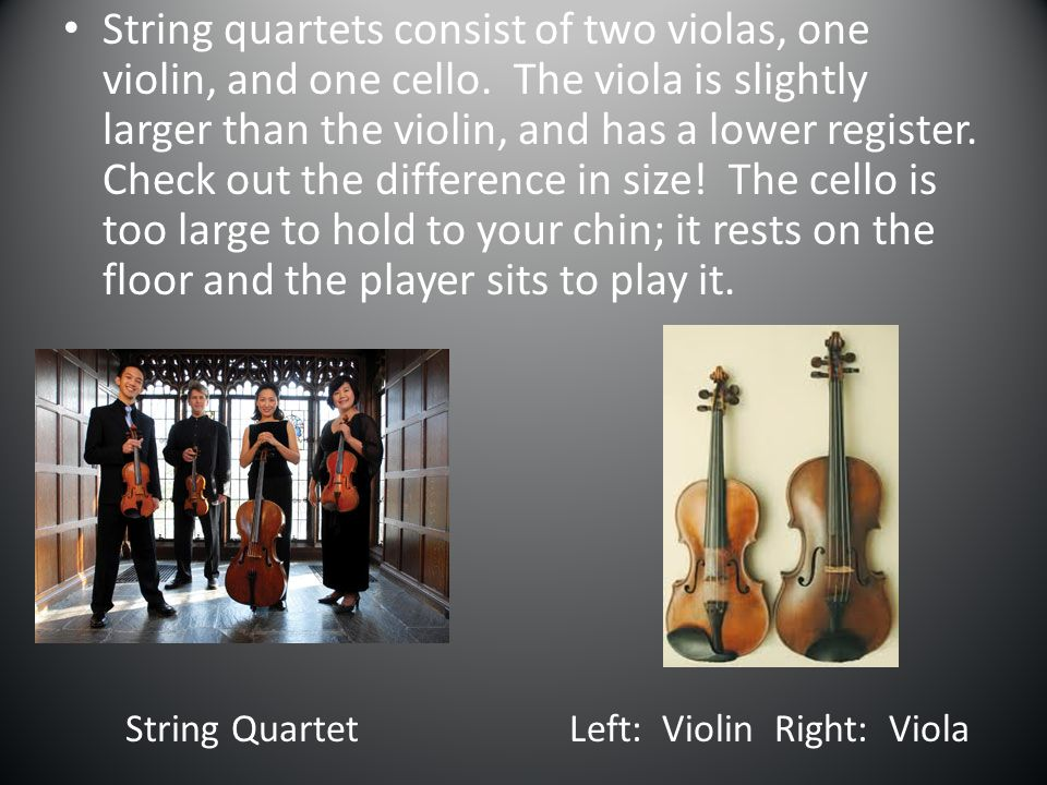 String quartets consist of two violas, one violin, and one cello