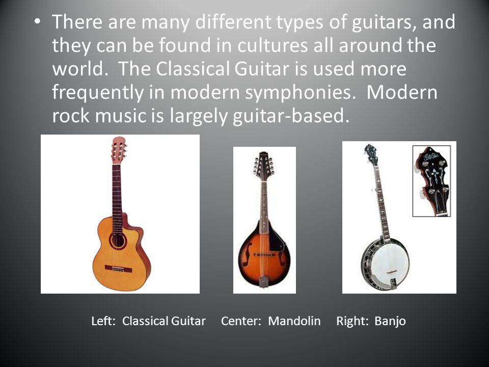 Left: Classical Guitar Center: Mandolin Right: Banjo
