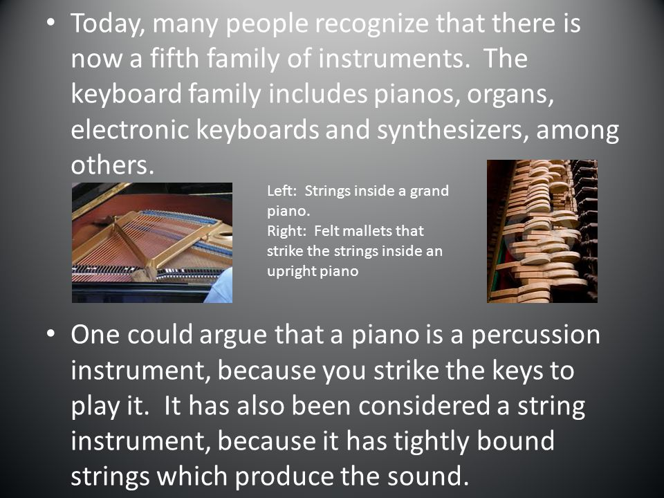 Today, many people recognize that there is now a fifth family of instruments. The keyboard family includes pianos, organs, electronic keyboards and synthesizers, among others.