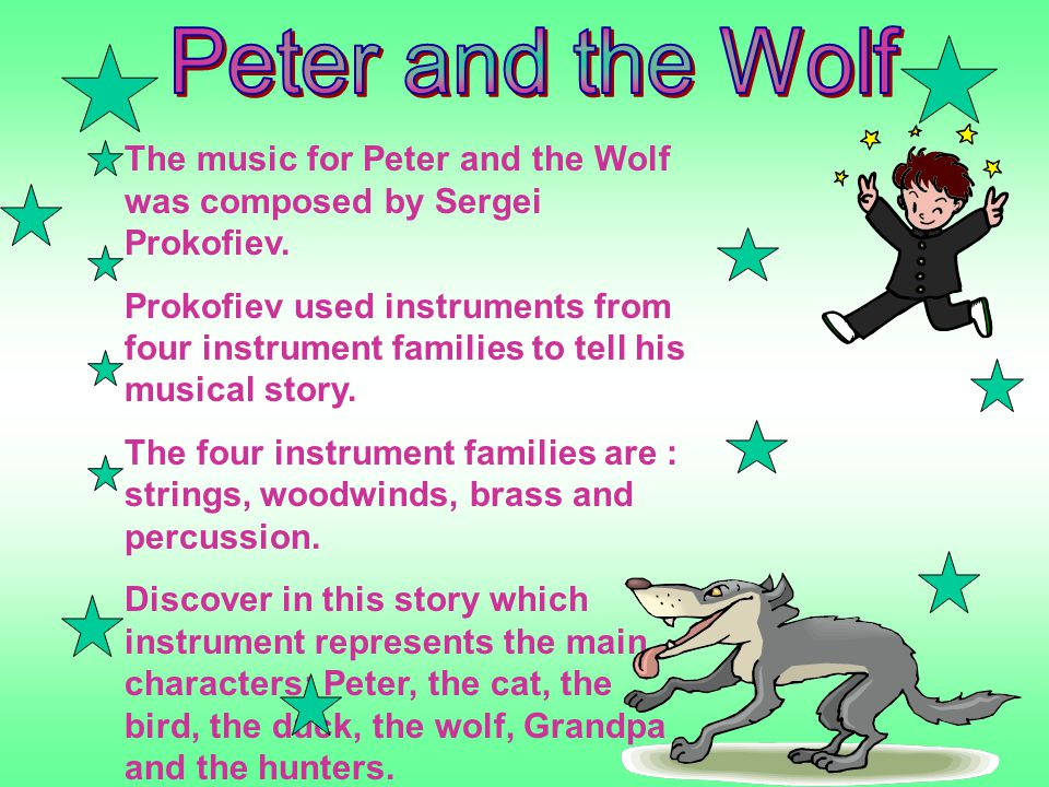 an analysis of the analogies to the story peter and the wolf by sergei prokofiev This version makes some changes to the original prokofiev story for example: peter as sergei prokofiev's peter and the wolf) its analogies to.