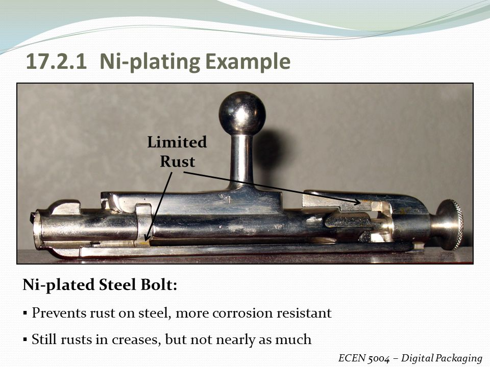17.2.1 Ni-plating Example Limited Rust Ni-plated Steel Bolt: