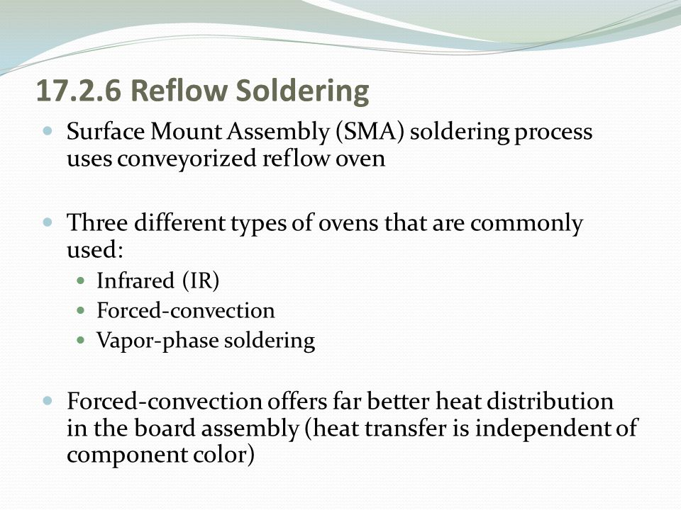 17.2.6 Reflow Soldering Surface Mount Assembly (SMA) soldering process uses conveyorized reflow oven.