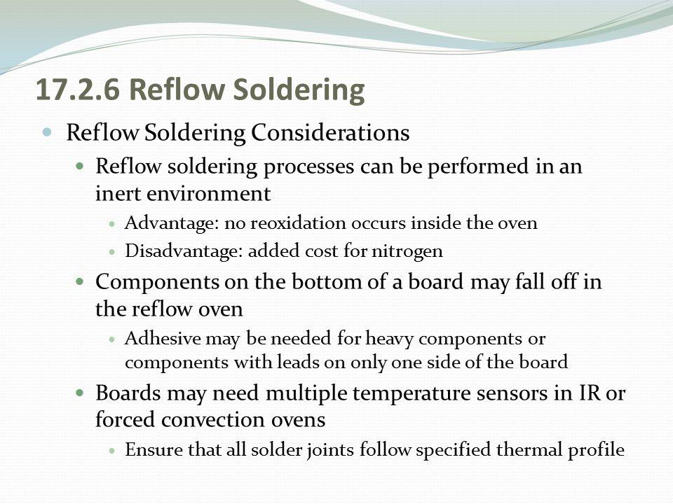 17.2.6 Reflow Soldering Reflow Soldering Considerations