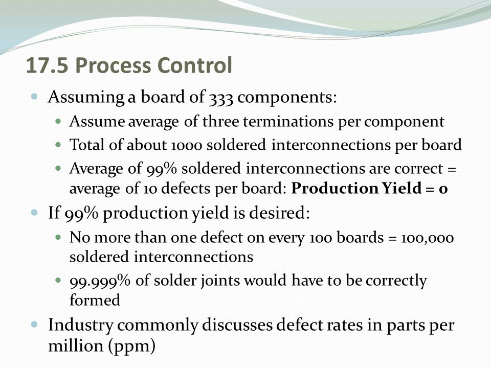17.5 Process Control Assuming a board of 333 components: