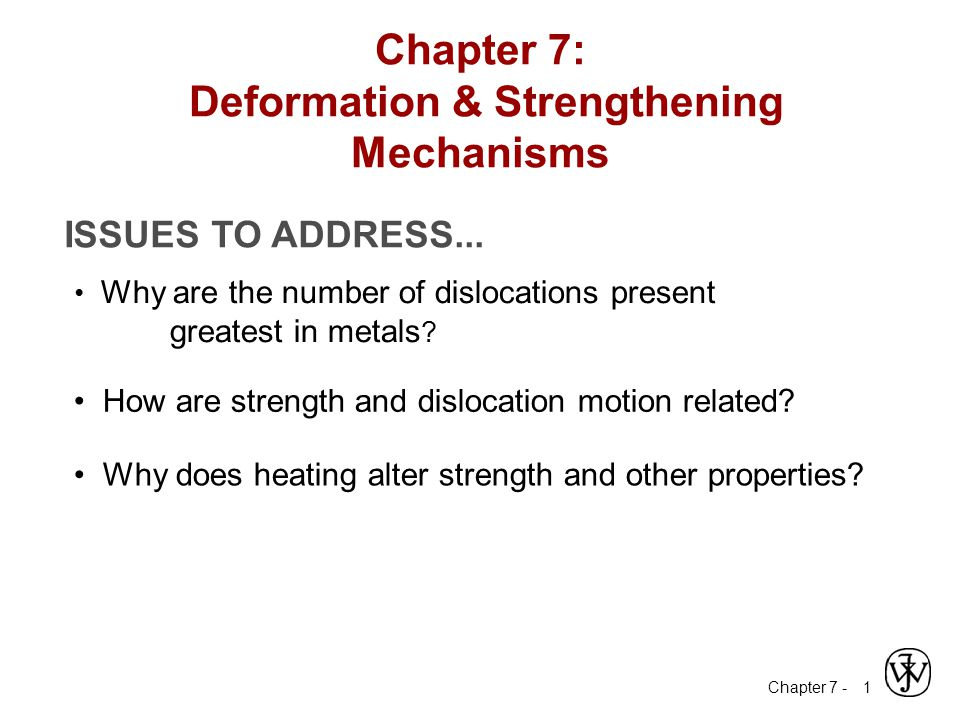 Chapter 7: Deformation & Strengthening Mechanisms