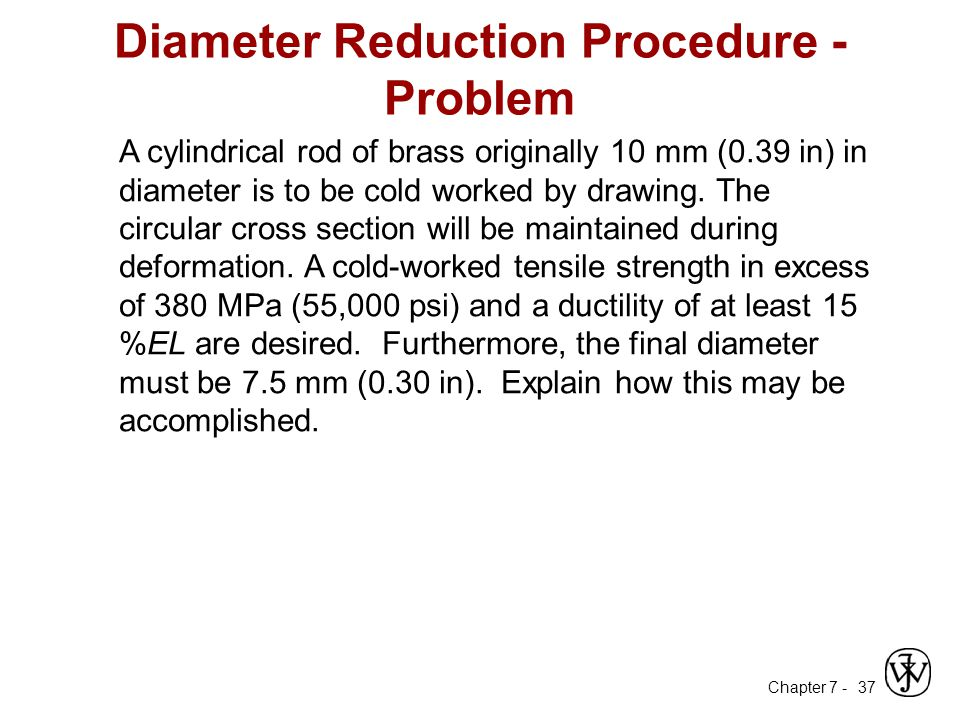 Diameter Reduction Procedure - Problem
