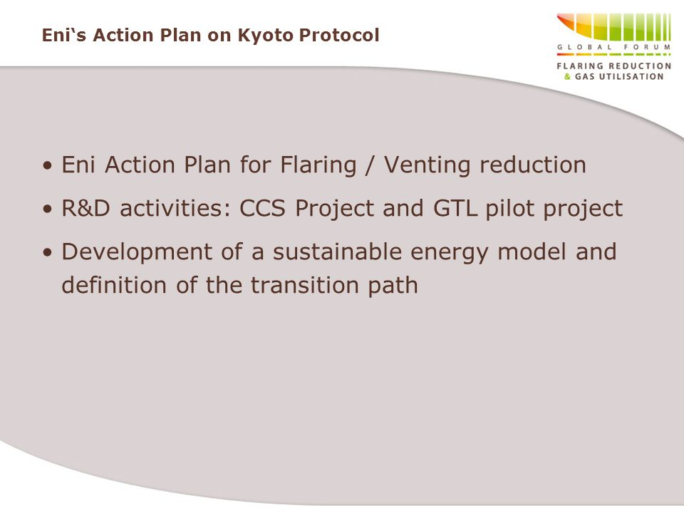 Eni's Action Plan on Kyoto Protocol