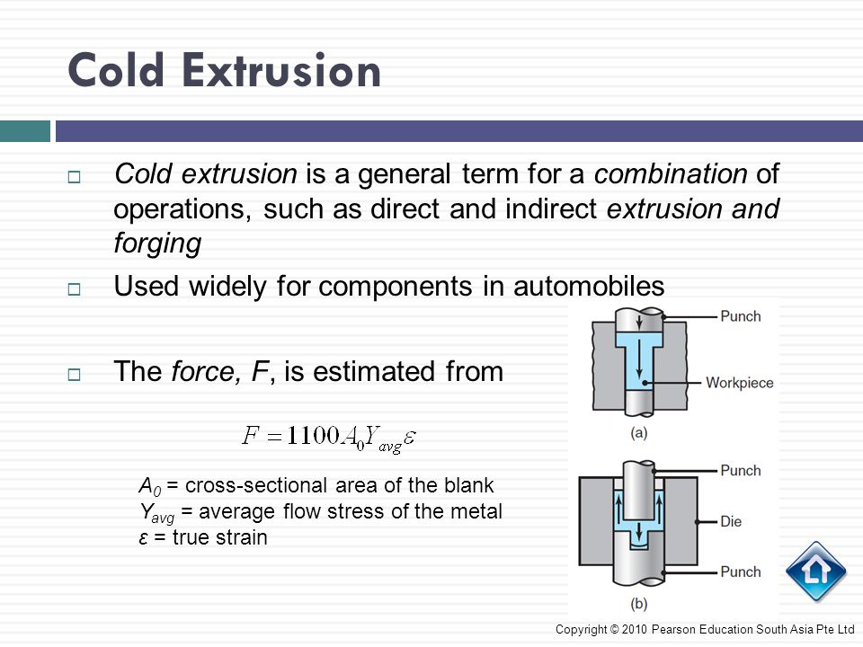 Cold Extrusion Cold extrusion is a general term for a combination of operations, such as direct and indirect extrusion and forging.