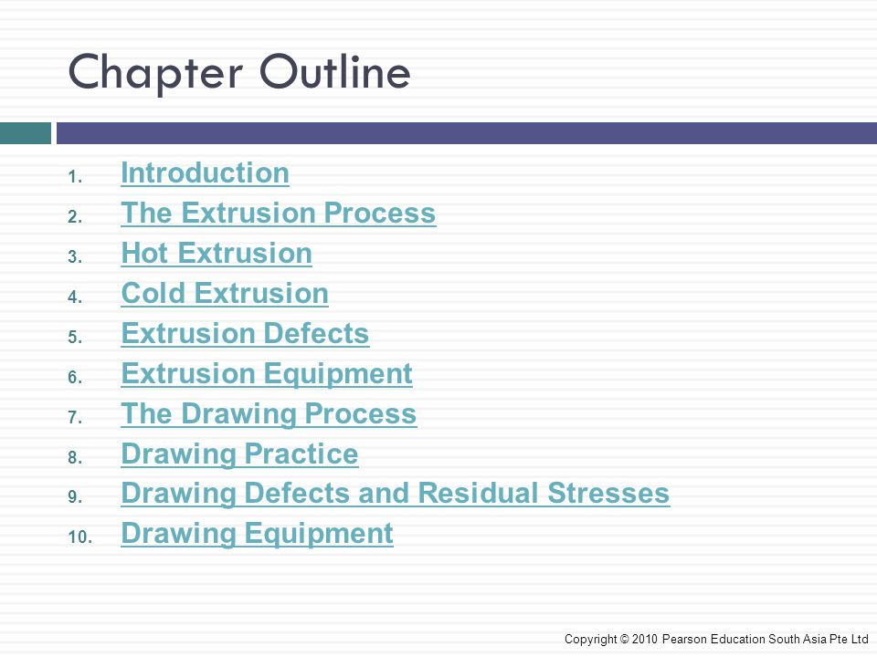 Chapter Outline Introduction The Extrusion Process Hot Extrusion