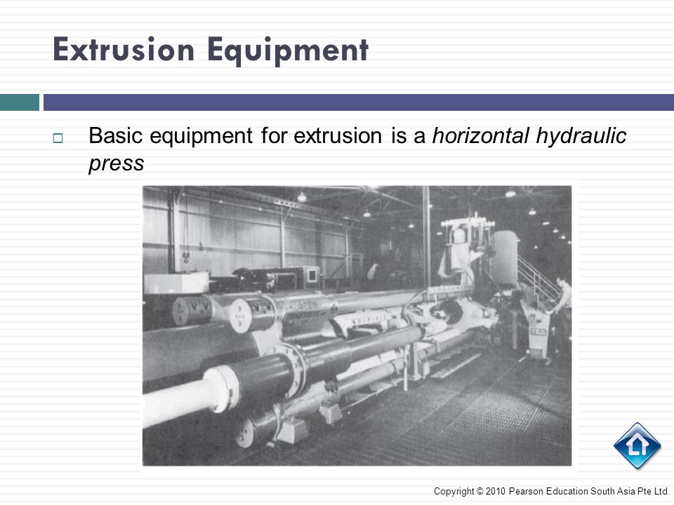 Extrusion Equipment Basic equipment for extrusion is a horizontal hydraulic press.