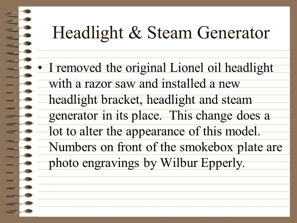 Headlight & Steam Generator