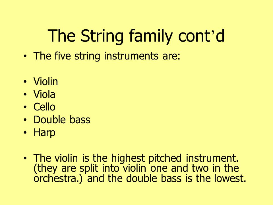 The String family cont'd