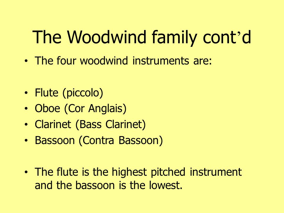 The Woodwind family cont'd