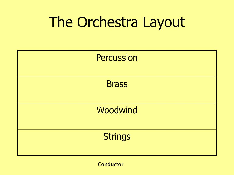 The Orchestra Layout Percussion Brass Woodwind Strings Conductor