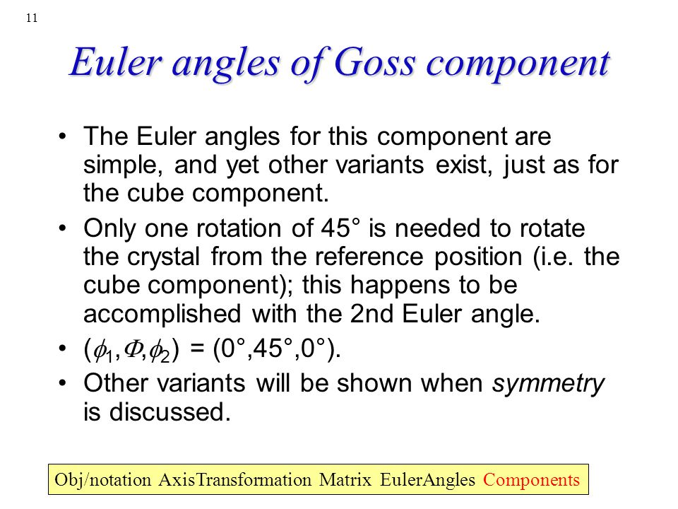 Euler angles of Goss component