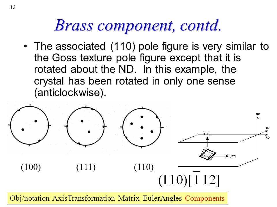 Brass component, contd.
