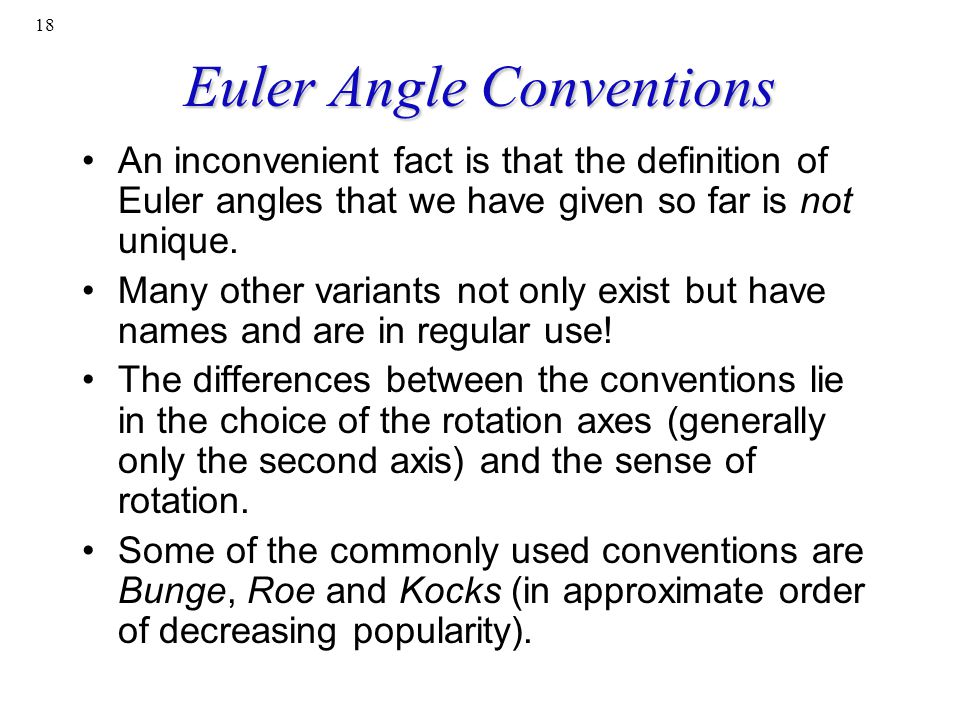 Euler Angle Conventions