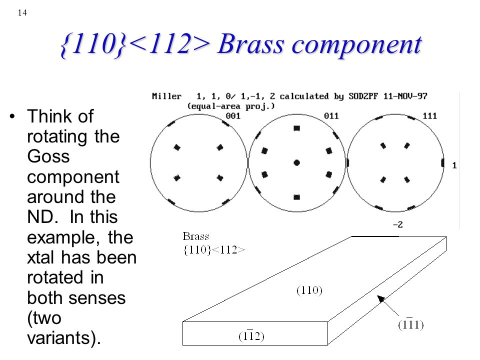 {110}<112> Brass component