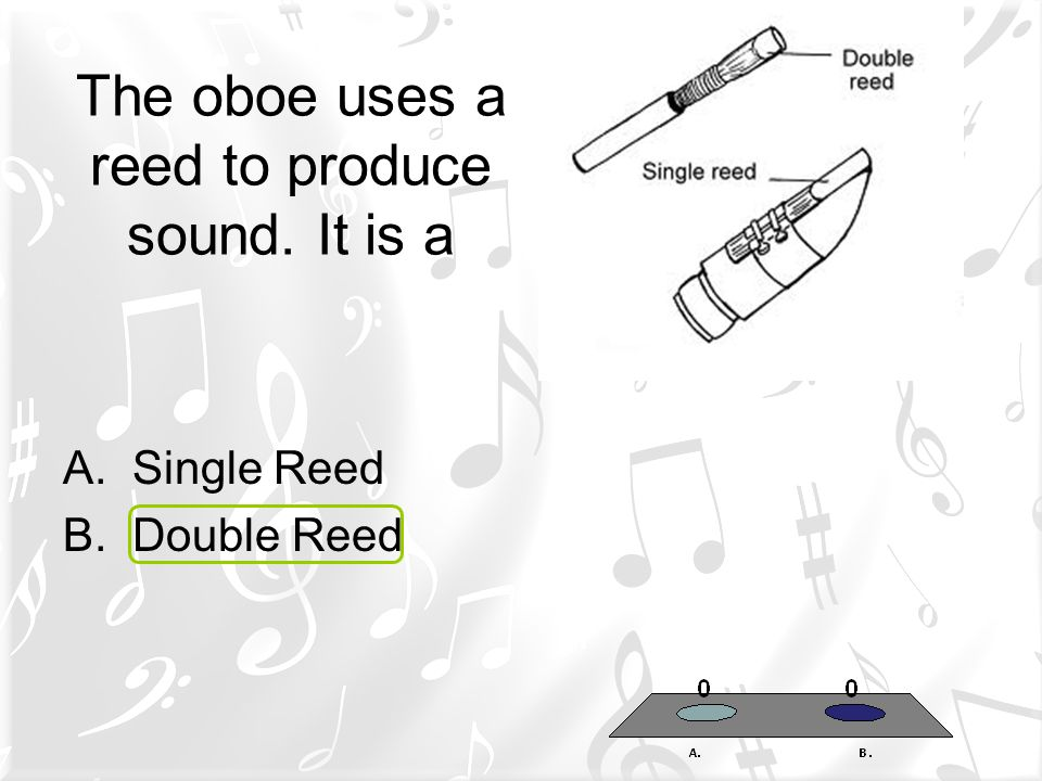 The oboe uses a reed to produce sound. It is a
