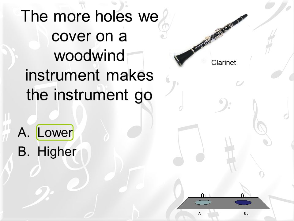The more holes we cover on a woodwind instrument makes the instrument go