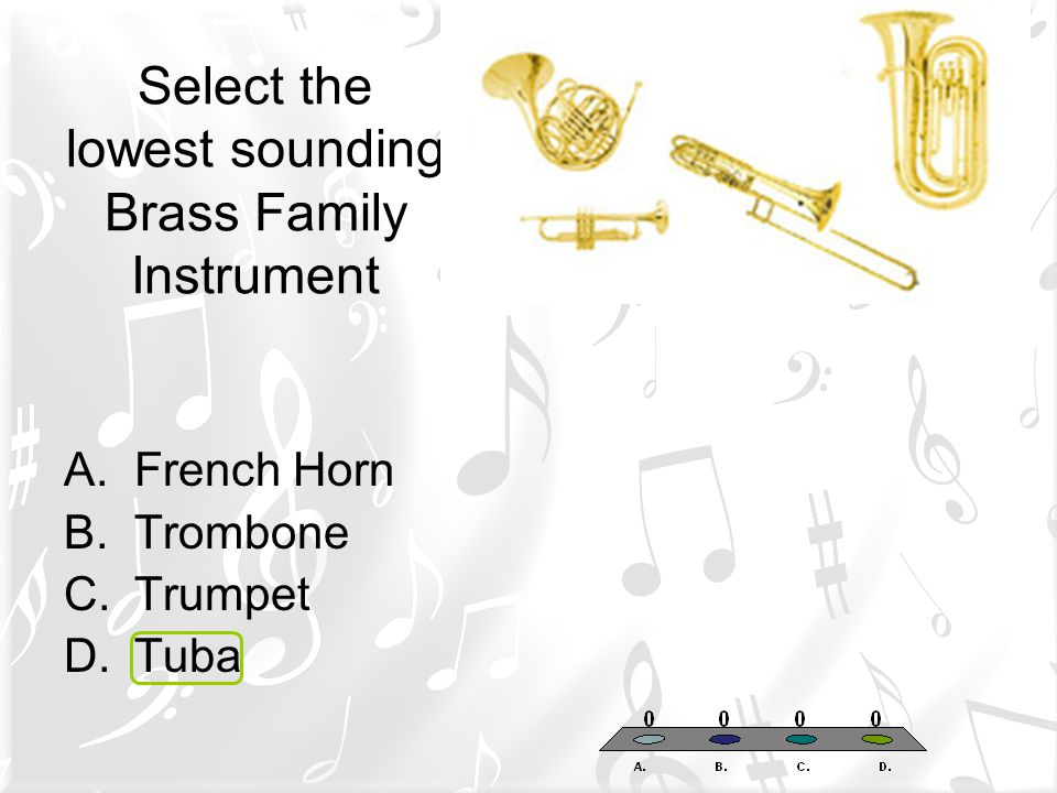 Select the lowest sounding Brass Family Instrument