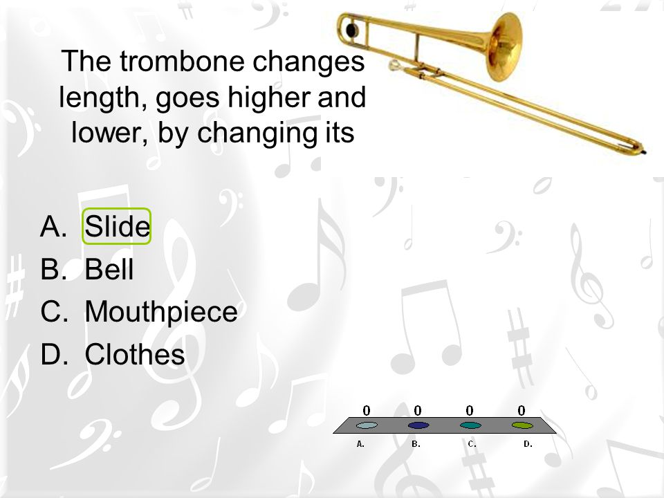 The trombone changes length, goes higher and lower, by changing its