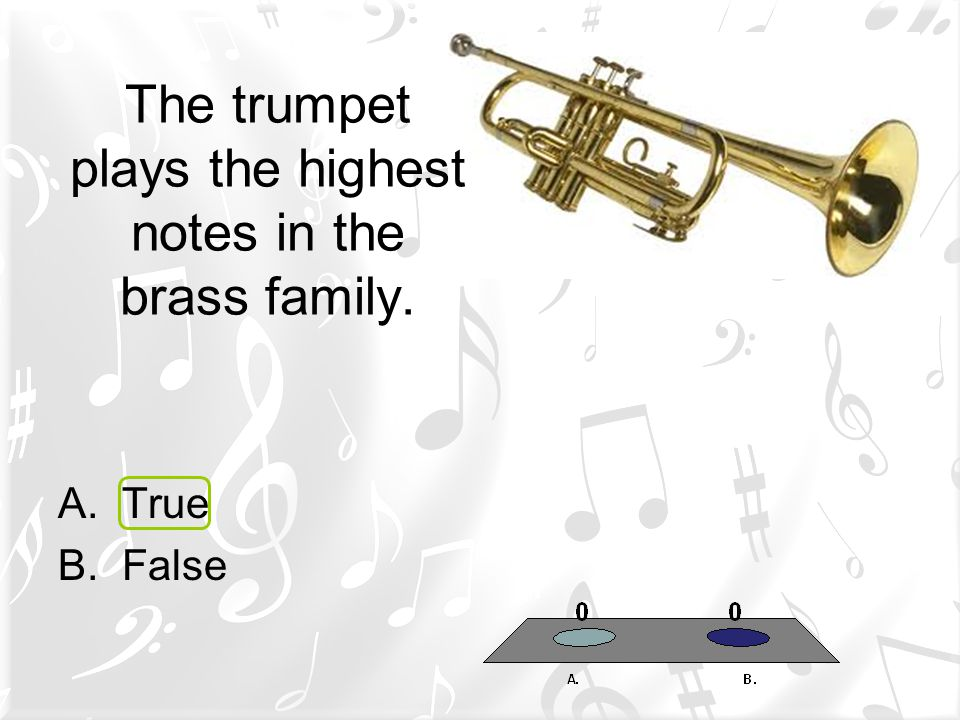 The trumpet plays the highest notes in the brass family.