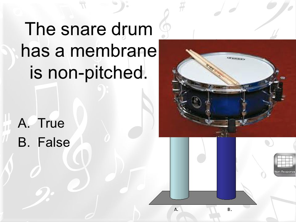 The snare drum has a membrane is non-pitched.