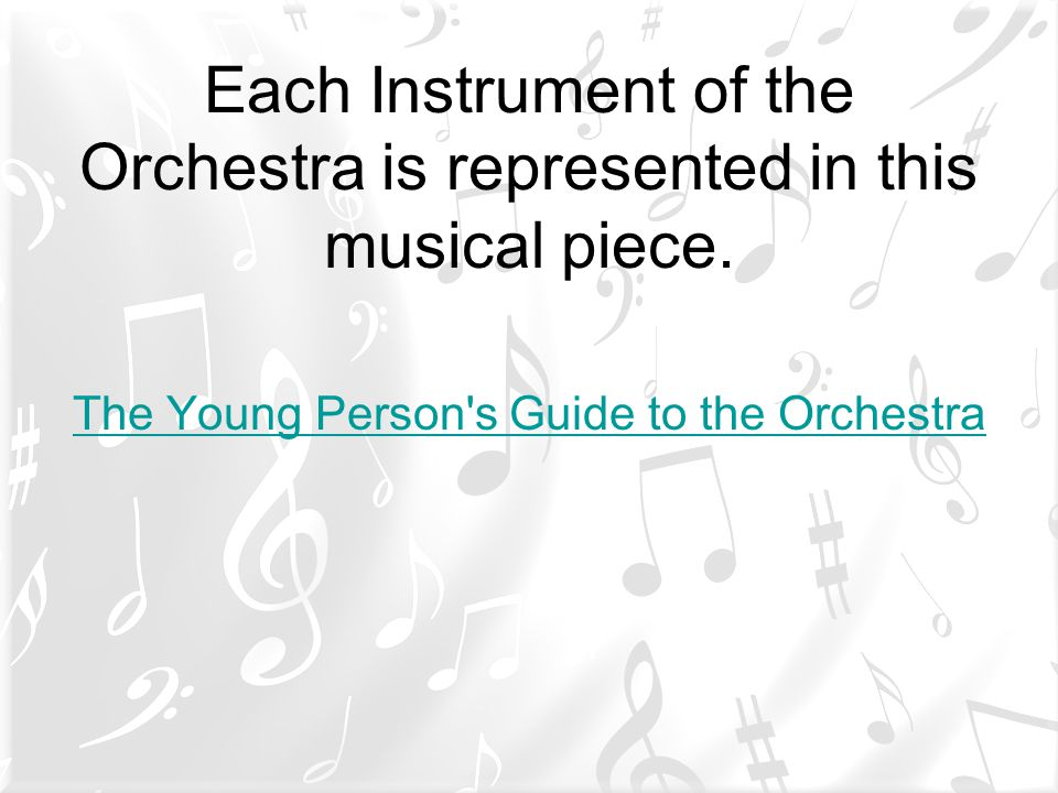 Each Instrument of the Orchestra is represented in this musical piece.