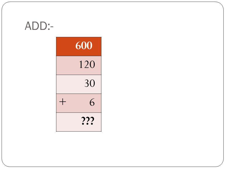 ADD:- 600 120 30 + 6