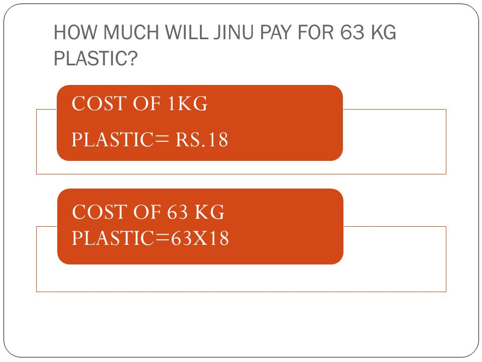 HOW MUCH WILL JINU PAY FOR 63 KG PLASTIC