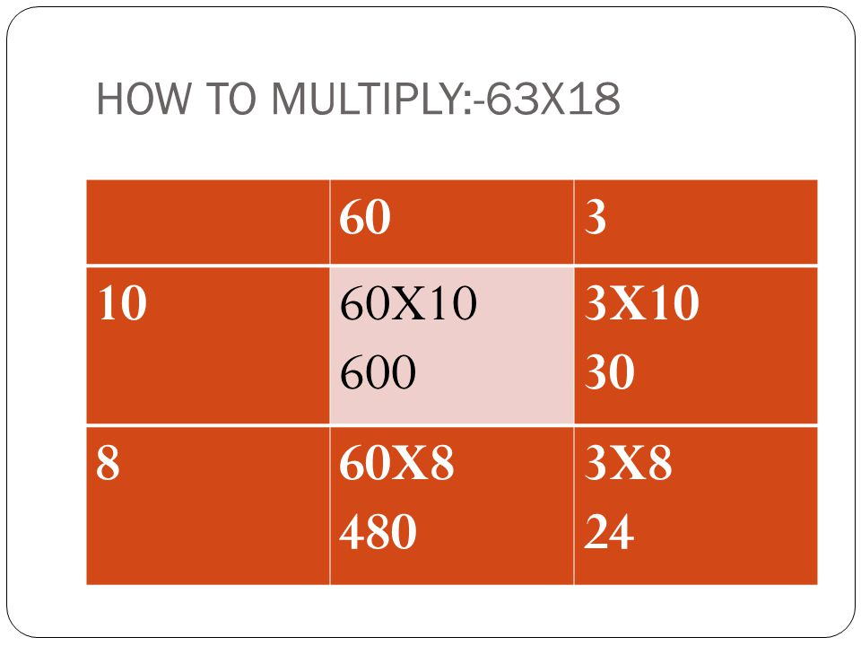 HOW TO MULTIPLY:-63X18 60 3 10 60X10 600 3X10 30 8 60X8 480 3X8 24 ADD