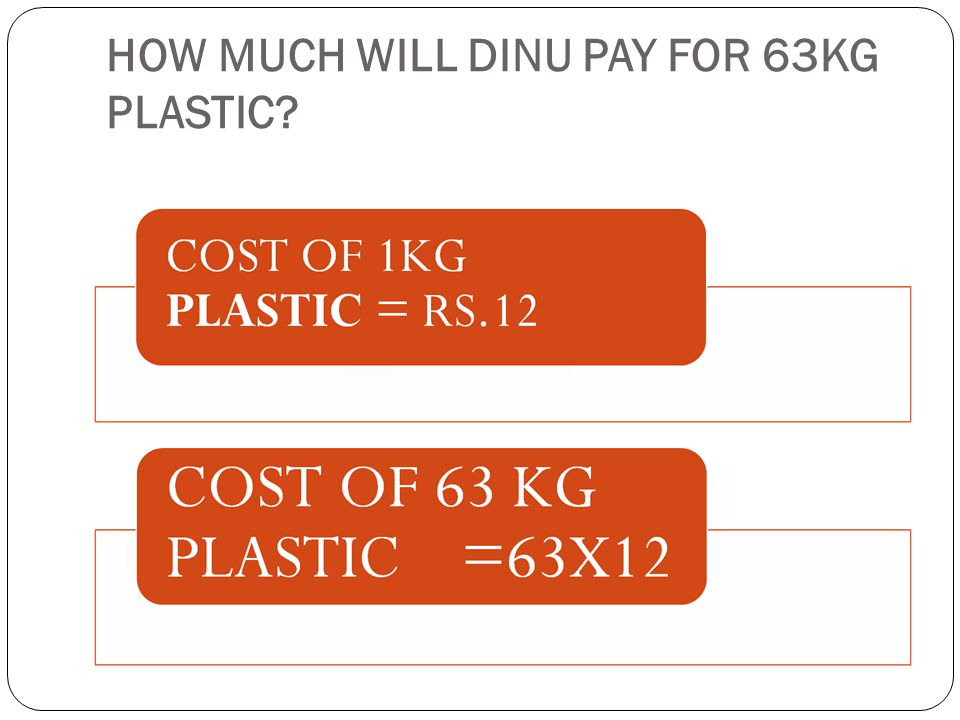 HOW MUCH WILL DINU PAY FOR 63KG PLASTIC