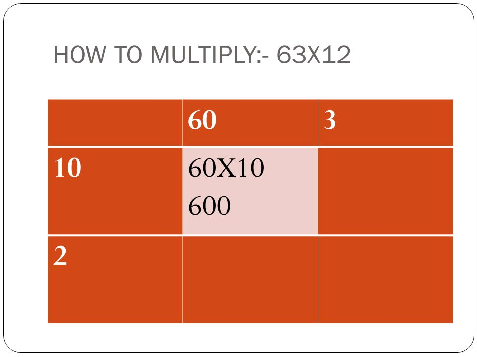 HOW TO MULTIPLY:- 63X12 60 3 10 60X10 600 2 ADD