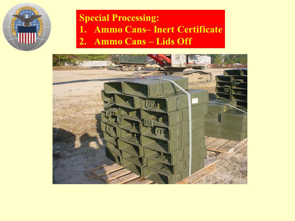 Special Processing: Ammo Cans– Inert Certificate Ammo Cans – Lids Off