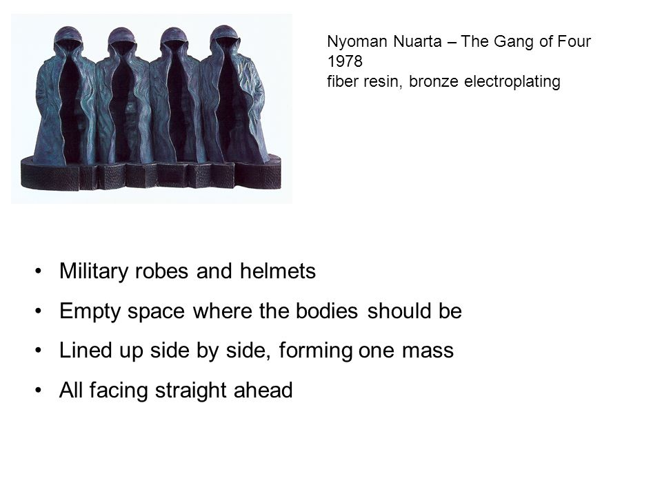 Military robes and helmets Empty space where the bodies should be
