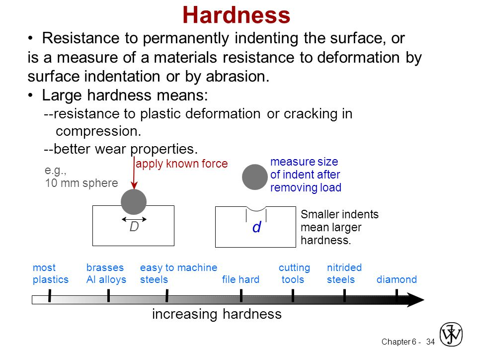Hardness • Resistance to permanently indenting the surface, or