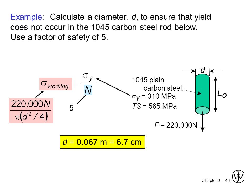 Example: Calculate a diameter, d, to ensure that yield does not occur in the 1045 carbon steel rod below. Use a factor of safety of 5.