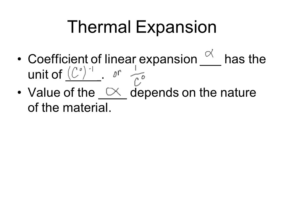 Thermal Expansion Coefficient of linear expansion ___ has the unit of _____.