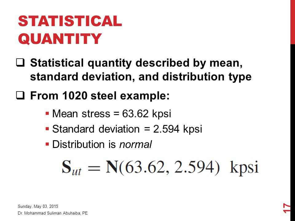 Statistical Quantity Statistical quantity described by mean, standard deviation, and distribution type.