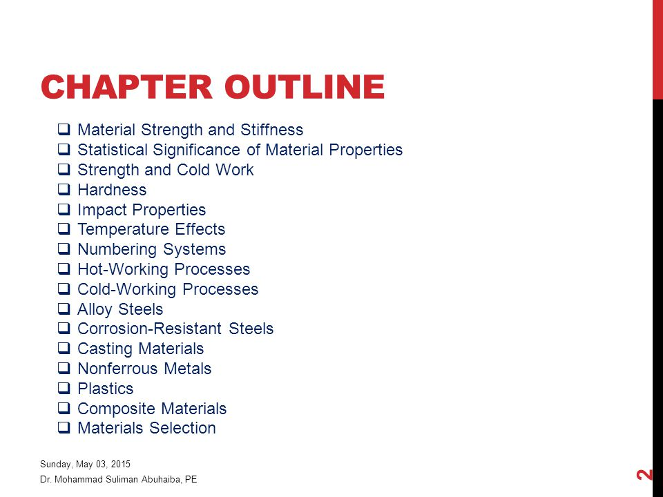 Chapter Outline Material Strength and Stiffness