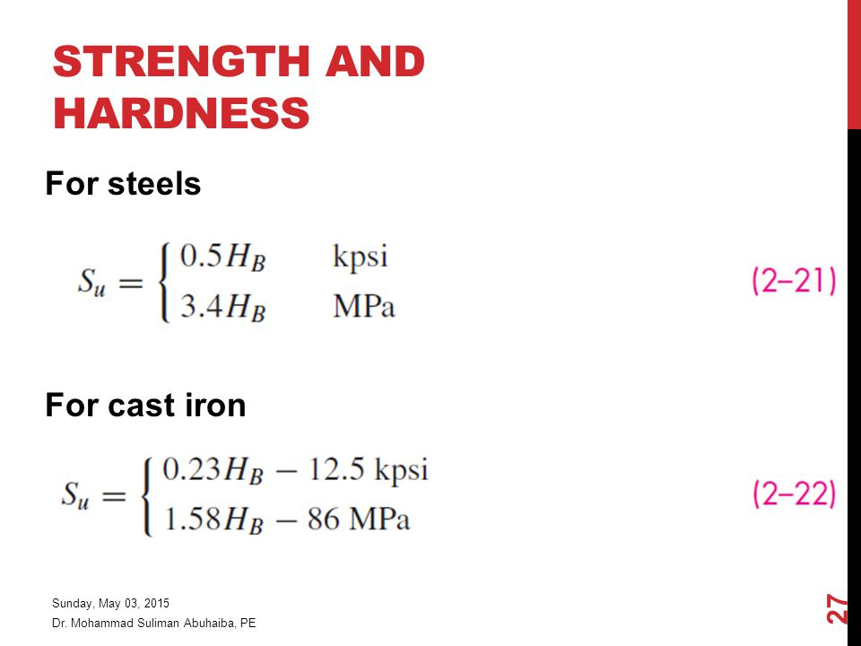 Strength and Hardness For steels For cast iron Friday, April 14, 2017