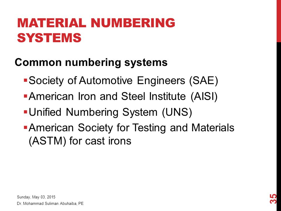 Material Numbering Systems