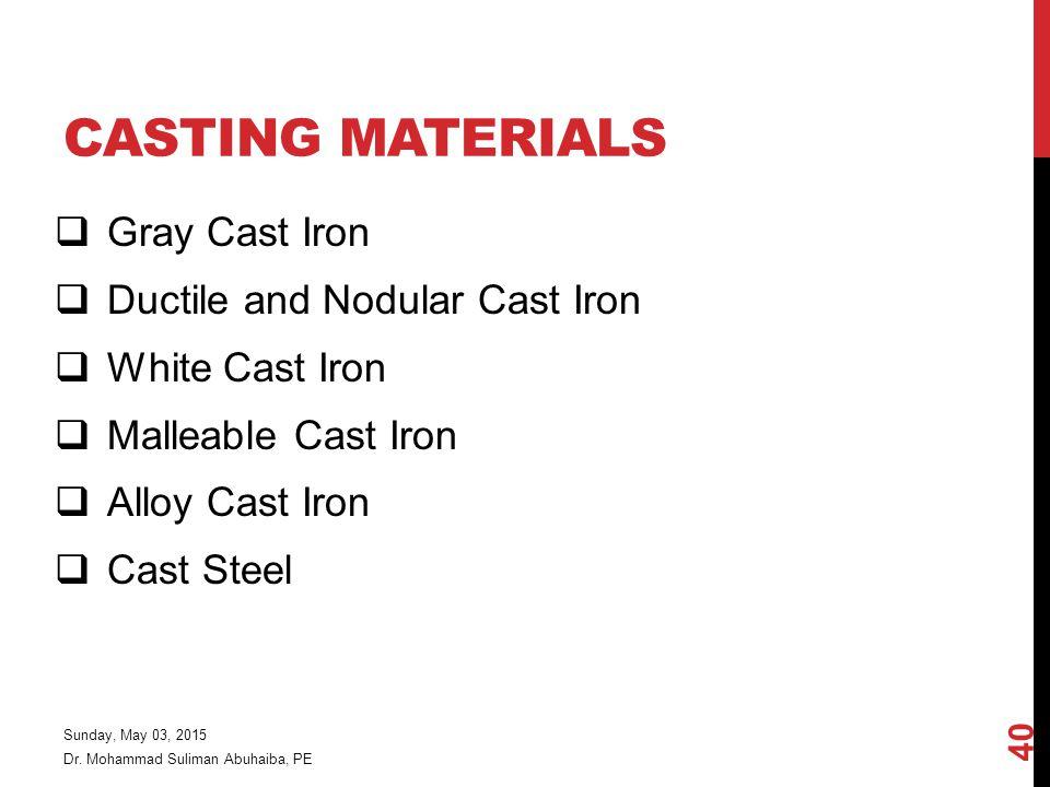 Casting Materials Gray Cast Iron Ductile and Nodular Cast Iron